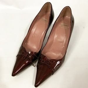 Moschino oxblood point toe heels 7.5 /8